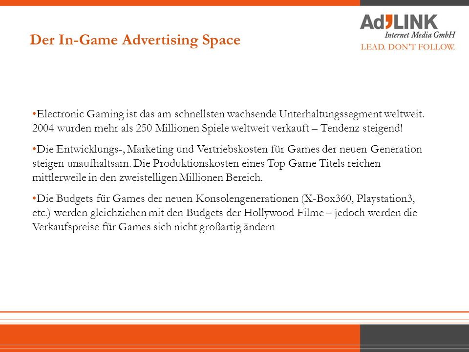 IGA EXAMPLES Advertising Beispiele Der In-Game Advertising Space 15 sec. TV spot here