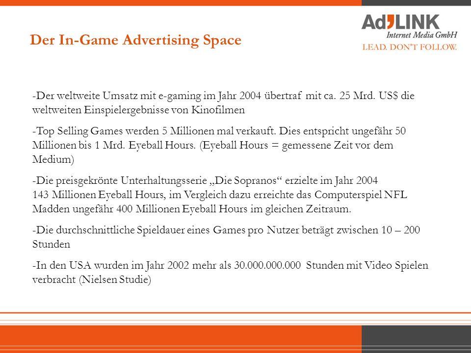 -Der weltweite Umsatz mit e-gaming im Jahr 2004 übertraf mit ca. 25 Mrd. US$ die weltweiten Einspielergebnisse von Kinofilmen -Top Selling Games werde