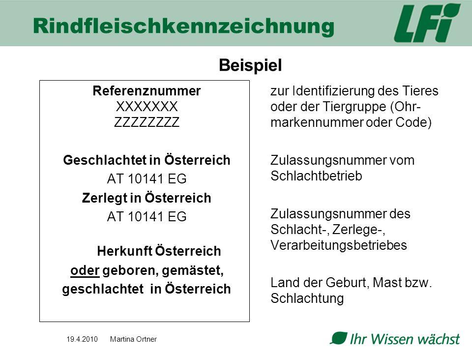 19.4.2010 Martina Ortner Referenznummer XXXXXXX ZZZZZZZZ Geschlachtet in Österreich AT 10141 EG Zerlegt in Österreich AT 10141 EG Herkunft Österreich