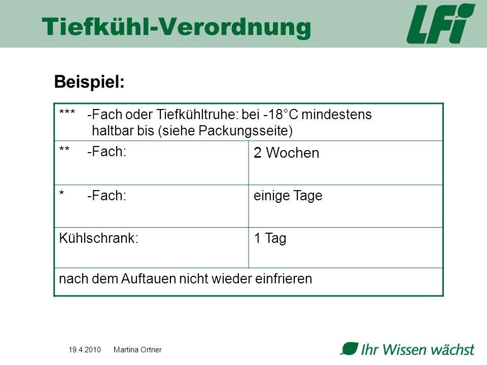 19.4.2010 Martina Ortner Beispiel: *** -Fach oder Tiefkühltruhe: bei -18°C mindestens haltbar bis (siehe Packungsseite) ** -Fach: 2 Wochen *-Fach:eini