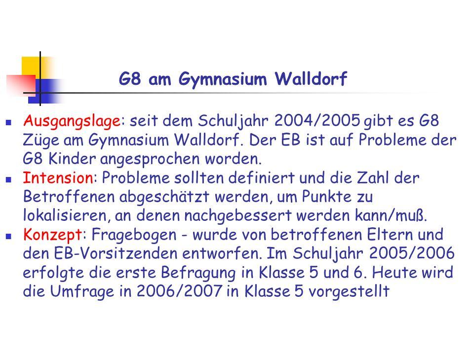 G8 am Gymnasium Walldorf Meinungsbild Klasse 5 Umfrage Januar 2007 110 ausgegebene Fragebögen 98 (89%) Rückläufe Dank an alle, die mitgemacht haben.