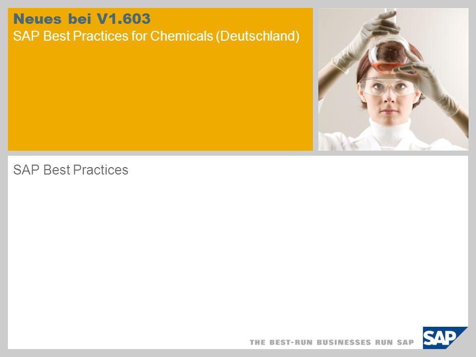 © SAP 2008 / Seite 2 Allgemeine Informationen Bei der Entwicklung der SAP Best Practices for Chemicals V1.603 lag der Schwerpunkt auf folgenden Themen: Technische Aufrüstung der bestehenden Sap Best Practices for Chemicals V1.600 auf SAP ERP 6.0 EhP3 Anpassung des bestehenden Inhalts der SAP Best Practices for Chemicals V1.600 auf das neue Entwicklungkonzept für SAP Best Practices ( neue architektonische Struktur der Lösung) Weitere Ausarbeitung bestehender vorkonfigurierter Geschäftsprozesse Verbesserung des branchenspezifischen Inhalts ( neue vorkonfigurierte Szenarios) Einhaltung neuer gesetzlicher Vorschriften ( neue vorkonfigurierte Szenarios)