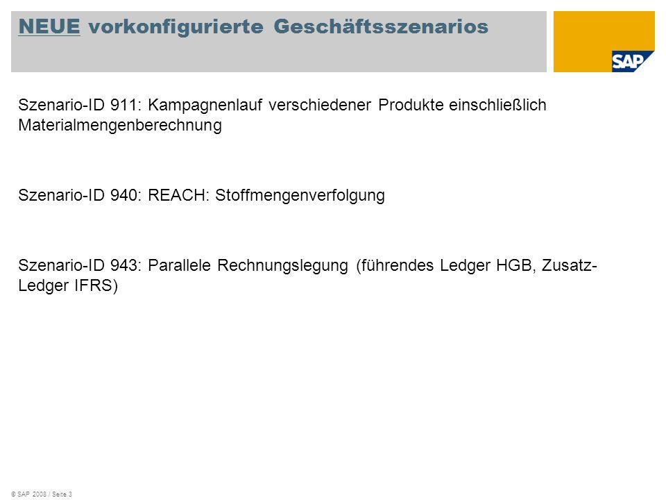 © SAP 2008 / Seite 3 NEUE vorkonfigurierte Geschäftsszenarios Szenario-ID 911: Kampagnenlauf verschiedener Produkte einschließlich Materialmengenberechnung Szenario-ID 940: REACH: Stoffmengenverfolgung Szenario-ID 943: Parallele Rechnungslegung (führendes Ledger HGB, Zusatz- Ledger IFRS)