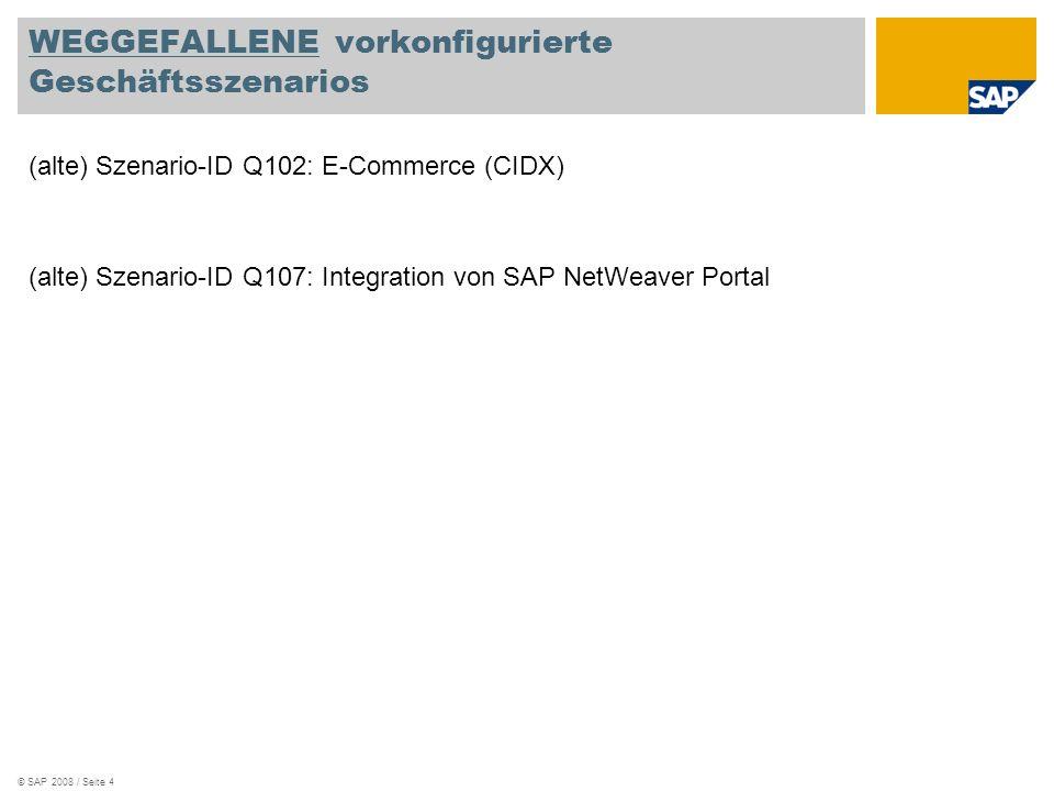 © SAP 2008 / Seite 4 WEGGEFALLENE vorkonfigurierte Geschäftsszenarios (alte) Szenario-ID Q102: E-Commerce (CIDX) (alte) Szenario-ID Q107: Integration