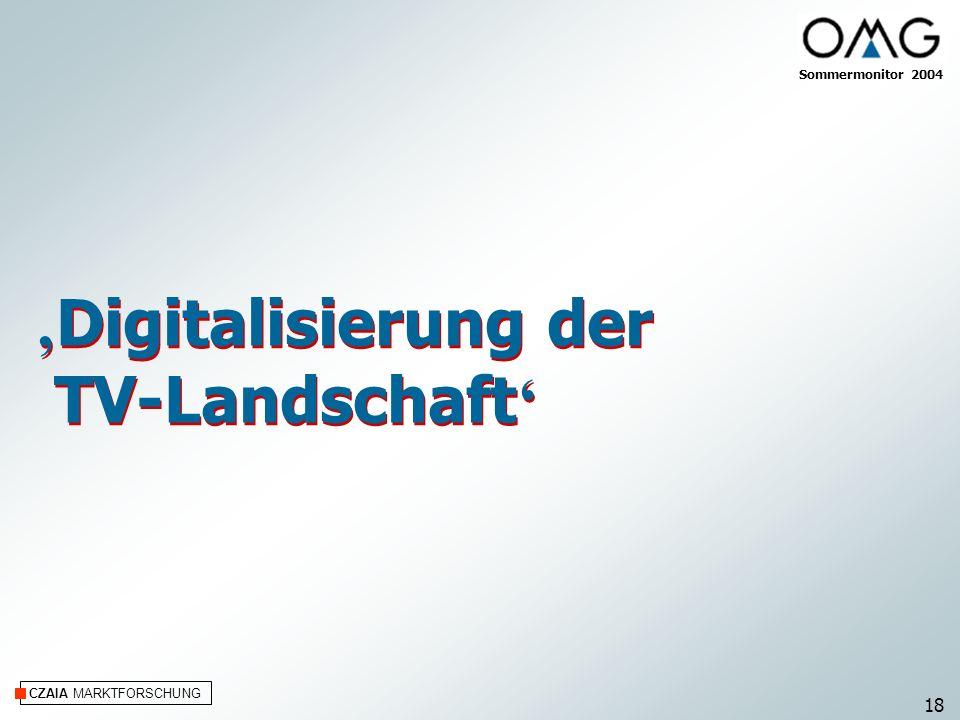 CZAIA MARKTFORSCHUNG Digitalisierung der TV-Landschaft Digitalisierung der TV-Landschaft Sommermonitor 2004 18