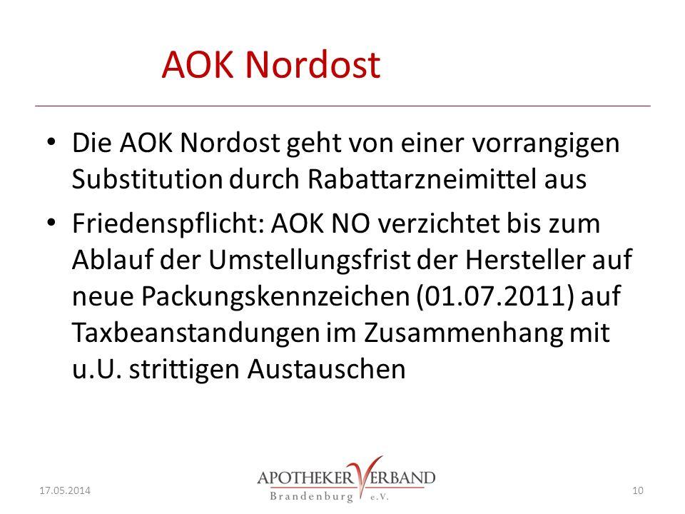 AOK Nordost Die AOK Nordost geht von einer vorrangigen Substitution durch Rabattarzneimittel aus Friedenspflicht: AOK NO verzichtet bis zum Ablauf der Umstellungsfrist der Hersteller auf neue Packungskennzeichen (01.07.2011) auf Taxbeanstandungen im Zusammenhang mit u.U.