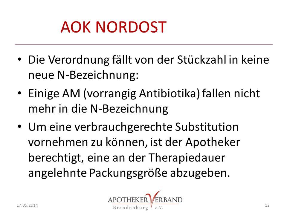 AOK NORDOST Die Verordnung fällt von der Stückzahl in keine neue N-Bezeichnung: Einige AM (vorrangig Antibiotika) fallen nicht mehr in die N-Bezeichnung Um eine verbrauchgerechte Substitution vornehmen zu können, ist der Apotheker berechtigt, eine an der Therapiedauer angelehnte Packungsgröße abzugeben.