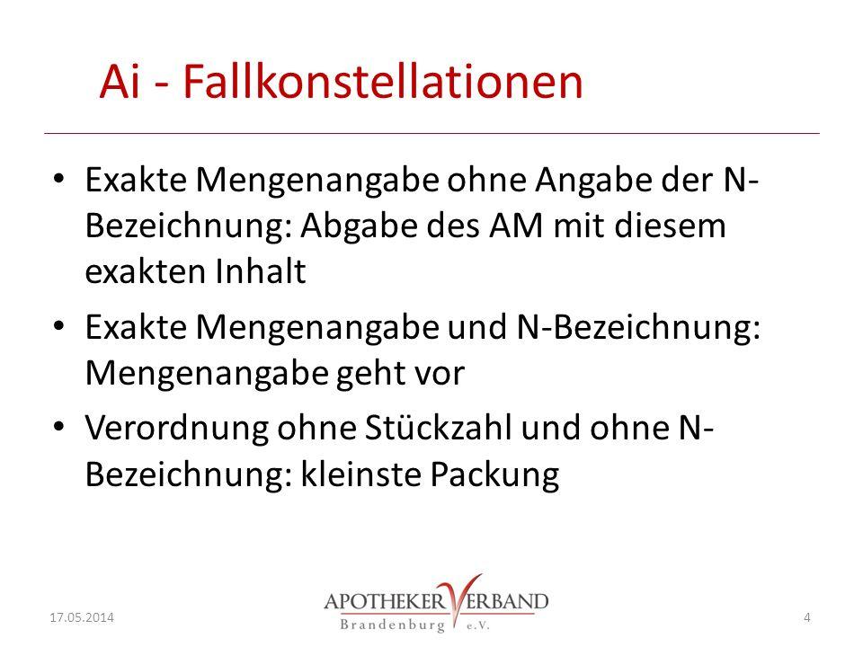 Ai - Fallkonstellationen Exakte Mengenangabe ohne Angabe der N- Bezeichnung: Abgabe des AM mit diesem exakten Inhalt Exakte Mengenangabe und N-Bezeich