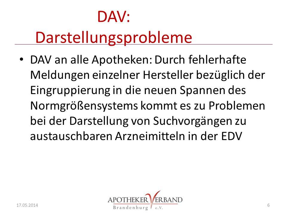 DAV: Darstellungsprobleme DAV an alle Apotheken: Durch fehlerhafte Meldungen einzelner Hersteller bezüglich der Eingruppierung in die neuen Spannen des Normgrößensystems kommt es zu Problemen bei der Darstellung von Suchvorgängen zu austauschbaren Arzneimitteln in der EDV 17.05.2014 6