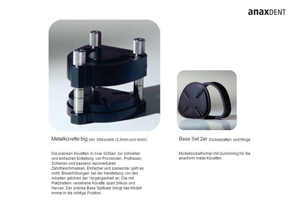 Base Set 2er Sockelplatten und Ringe Modellsockelformer mit Gummiring für die anaxform metal Küvetten. Metalküvette big inkl. Silikondrill (2,5mm und