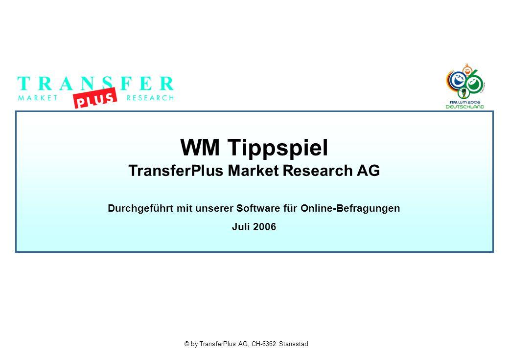 © by TransferPlus AG, CH-6362 Stansstad WM Tippspiel TransferPlus Market Research AG Durchgeführt mit unserer Software für Online-Befragungen Juli 2006