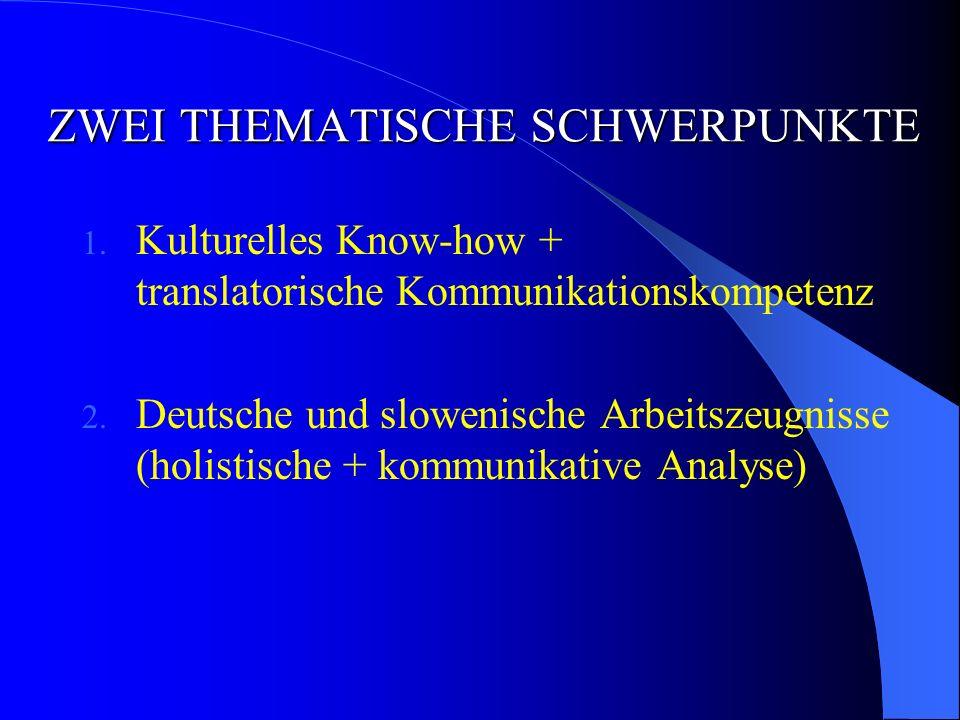 ZWEI THEMATISCHE SCHWERPUNKTE 1.Kulturelles Know-how + translatorische Kommunikationskompetenz 2.