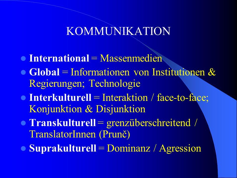 KOMMUNIKATION International = Massenmedien Global = Informationen von Institutionen & Regierungen; Technologie Interkulturell = Interaktion / face-to-face; Konjunktion & Disjunktion Transkulturell = grenzüberschreitend / TranslatorInnen (Prunč) Suprakulturell = Dominanz / Agression
