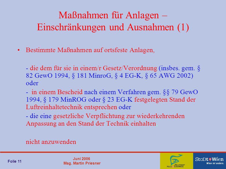 Juni 2006 Mag. Martin Priesner Folie 11 Maßnahmen für Anlagen – Einschränkungen und Ausnahmen (1) Bestimmte Maßnahmen auf ortsfeste Anlagen, - die dem
