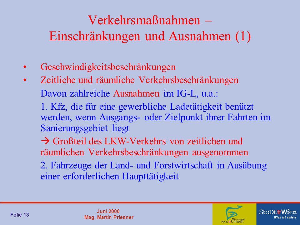 Juni 2006 Mag. Martin Priesner Folie 13 Verkehrsmaßnahmen – Einschränkungen und Ausnahmen (1) Geschwindigkeitsbeschränkungen Zeitliche und räumliche V