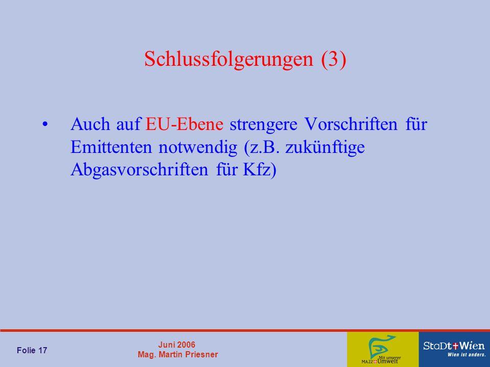 Juni 2006 Mag. Martin Priesner Folie 17 Schlussfolgerungen (3) Auch auf EU-Ebene strengere Vorschriften für Emittenten notwendig (z.B. zukünftige Abga