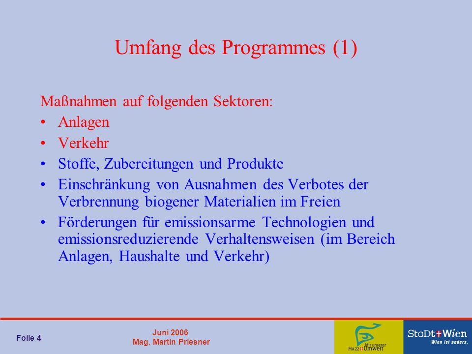 Juni 2006 Mag. Martin Priesner Folie 4 Umfang des Programmes (1) Maßnahmen auf folgenden Sektoren: Anlagen Verkehr Stoffe, Zubereitungen und Produkte