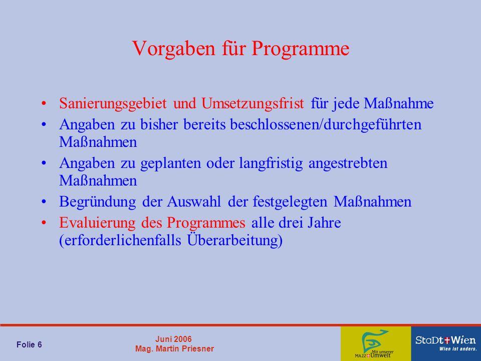 Juni 2006 Mag. Martin Priesner Folie 6 Vorgaben für Programme Sanierungsgebiet und Umsetzungsfrist für jede Maßnahme Angaben zu bisher bereits beschlo