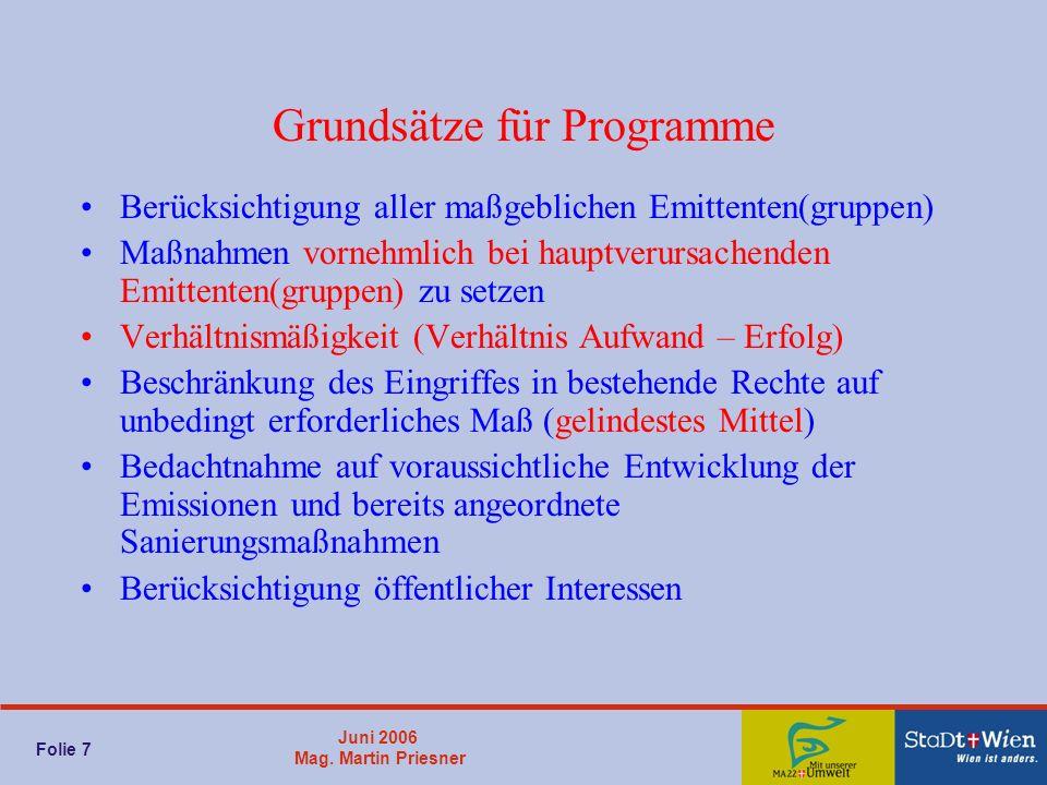 Juni 2006 Mag. Martin Priesner Folie 7 Grundsätze für Programme Berücksichtigung aller maßgeblichen Emittenten(gruppen) Maßnahmen vornehmlich bei haup