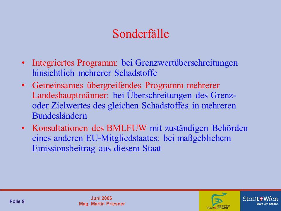 Juni 2006 Mag. Martin Priesner Folie 8 Sonderfälle Integriertes Programm: bei Grenzwertüberschreitungen hinsichtlich mehrerer Schadstoffe Gemeinsames
