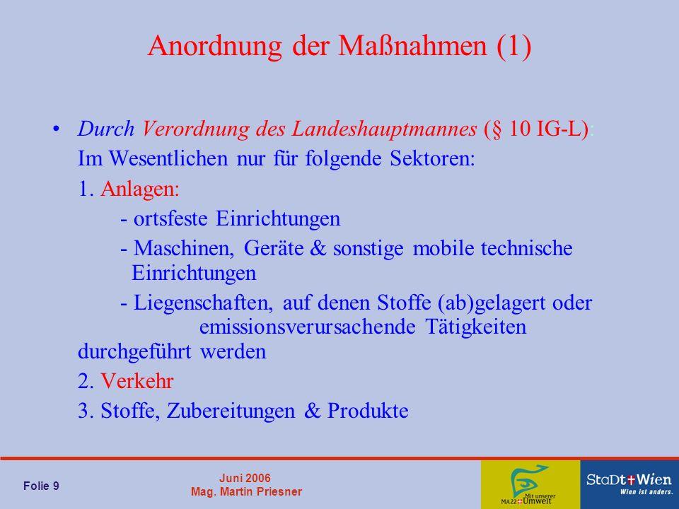 Juni 2006 Mag. Martin Priesner Folie 9 Anordnung der Maßnahmen (1) Durch Verordnung des Landeshauptmannes (§ 10 IG-L): Im Wesentlichen nur für folgend
