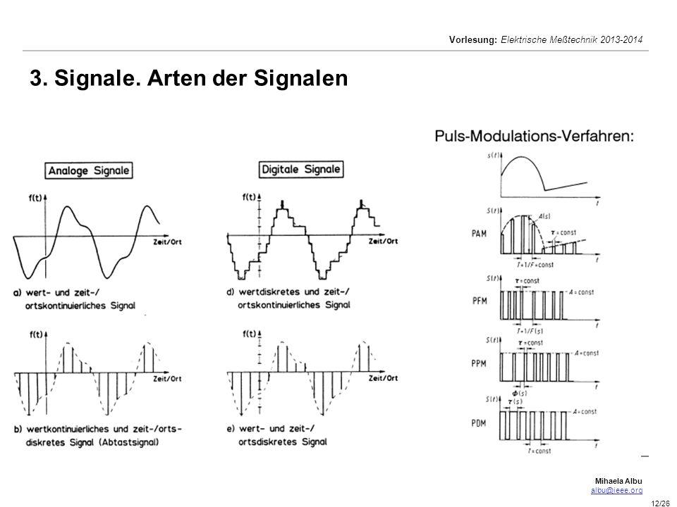 Mihaela Albu albu@ieee.org Vorlesung: Elektrische Meßtechnik 2013-2014 12/26 3. Signale. Arten der Signalen