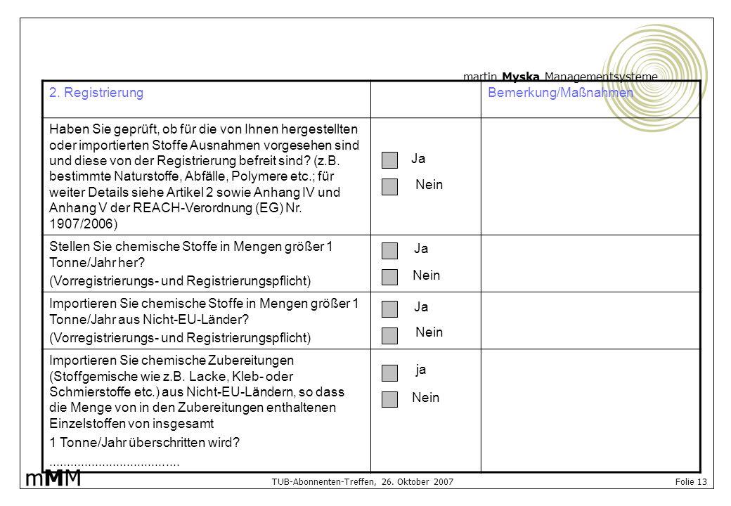 martin Myska Managementsysteme mMMmMM TUB-Abonnenten-Treffen, 26. Oktober 2007 Folie 13 2. RegistrierungBemerkung/Maßnahmen Haben Sie geprüft, ob für