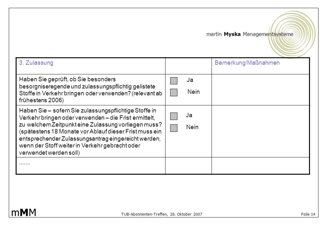 martin Myska Managementsysteme mMMmMM TUB-Abonnenten-Treffen, 26. Oktober 2007 Folie 14 3. ZulassungBemerkung/Maßnahmen Haben Sie geprüft, ob Sie beso