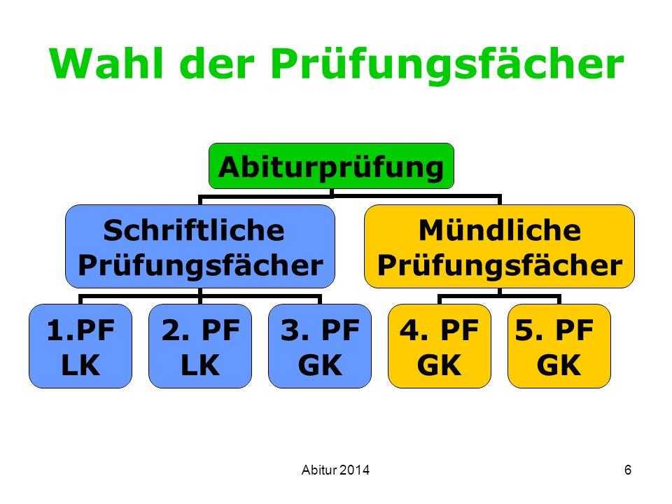 7 Bedingungen: Prüfungsfächer Alle Fächer durchgehend belegt seit Beginn der Einführungsphase Alle 3 Aufgabenfelder abgedeckt Schriftliche PF aus mindestens 2 AF Deutsch und Mathematik Fremdsprache o.