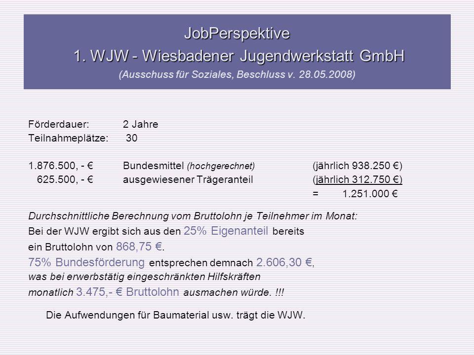 JobPerspektive 1. WJW - Wiesbadener Jugendwerkstatt GmbH JobPerspektive 1. WJW - Wiesbadener Jugendwerkstatt GmbH (Ausschuss für Soziales, Beschluss v