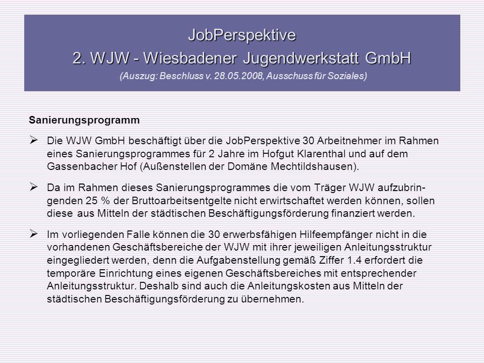 Sanierungsprogramm Die WJW GmbH beschäftigt über die JobPerspektive 30 Arbeitnehmer im Rahmen eines Sanierungsprogrammes für 2 Jahre im Hofgut Klarent