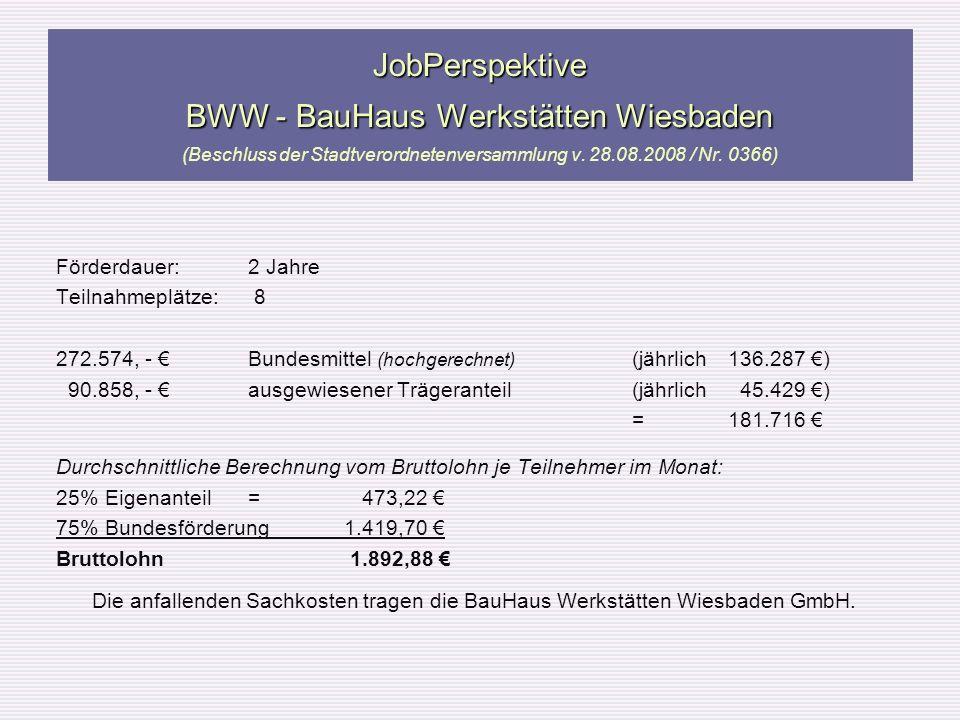 JobPerspektive BWW - BauHaus Werkstätten Wiesbaden JobPerspektive BWW - BauHaus Werkstätten Wiesbaden (Beschluss der Stadtverordnetenversammlung v. 28