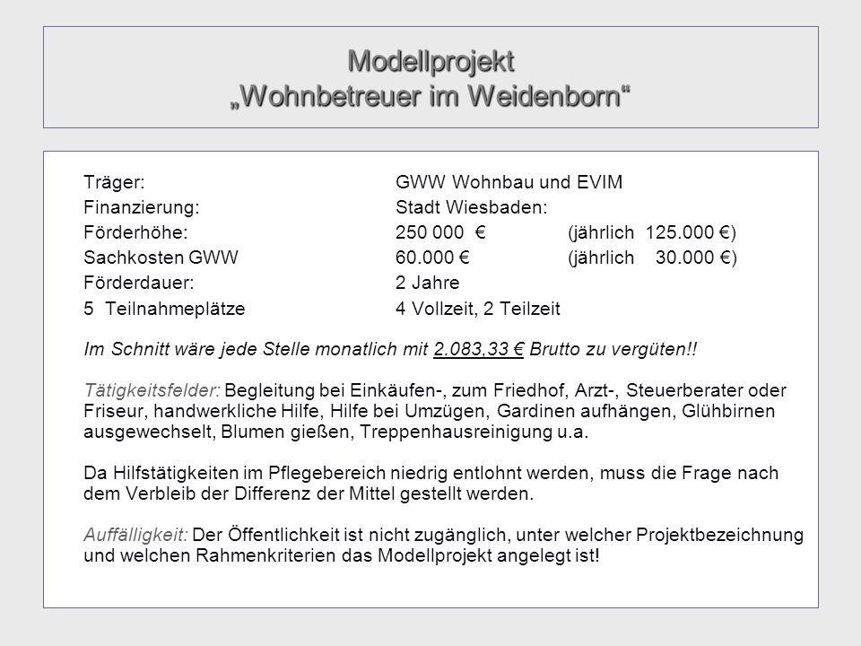 Modellprojekt Wohnbetreuer im Weidenborn Träger:GWW Wohnbau und EVIM Finanzierung:Stadt Wiesbaden: Förderhöhe:250 000 (jährlich 125.000 ) Sachkosten G