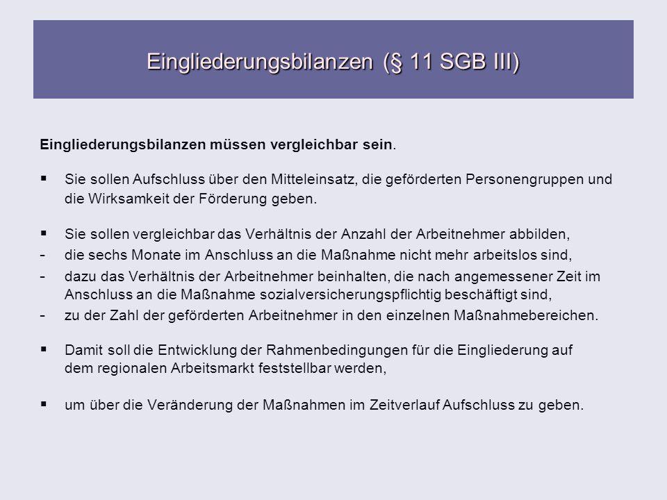 Eingliederungsbilanzen (§ 11 SGB III) Eingliederungsbilanzen müssen vergleichbar sein. Sie sollen Aufschluss über den Mitteleinsatz, die geförderten P