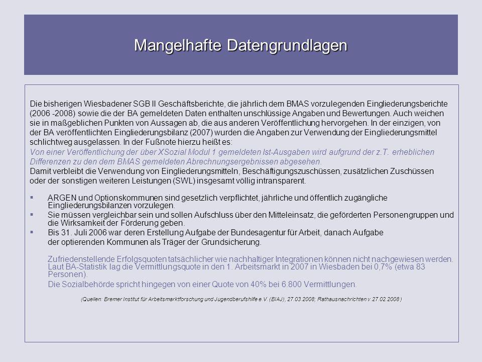Mangelhafte Datengrundlagen Die bisherigen Wiesbadener SGB II Geschäftsberichte, die jährlich dem BMAS vorzulegenden Eingliederungsberichte (2006 -200