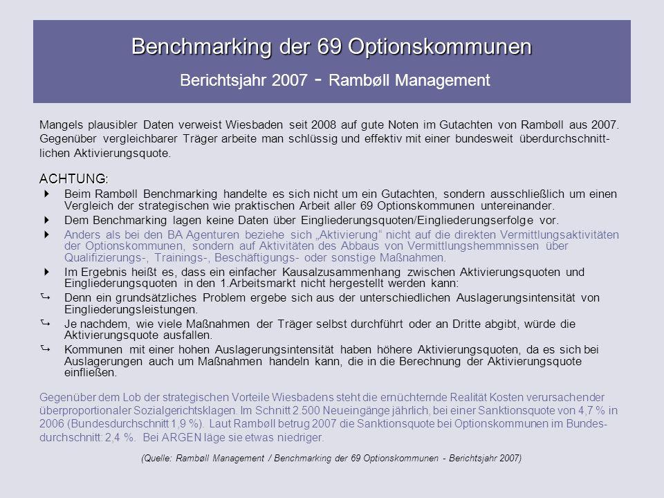 Benchmarking der 69 Optionskommunen Benchmarking der 69 Optionskommunen Berichtsjahr 2007 - Rambøll Management Mangels plausibler Daten verweist Wiesb