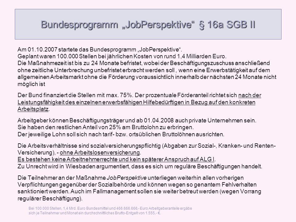 Bundesprogramm JobPerspektive § 16a SGB II Am 01.10.2007 startete das Bundesprogramm JobPerspektive. Geplant waren 100.000 Stellen bei jährlichen Kost