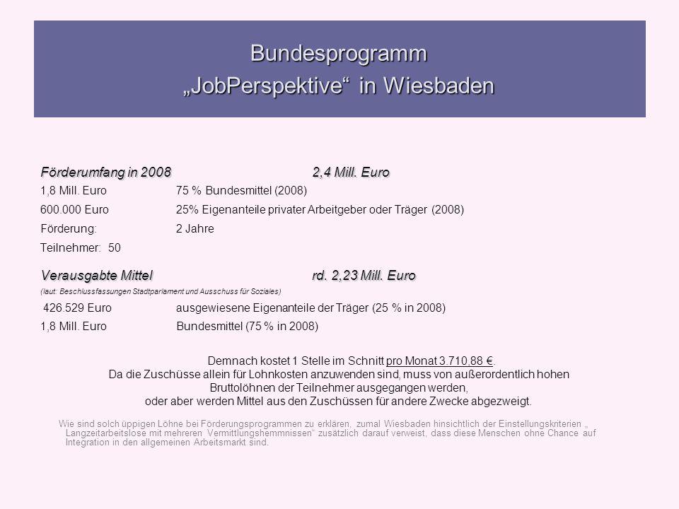 Bundesprogramm JobPerspektive in Wiesbaden Förderumfang in 20082,4 Mill. Euro 1,8 Mill. Euro75 % Bundesmittel (2008) 600.000 Euro25% Eigenanteile priv