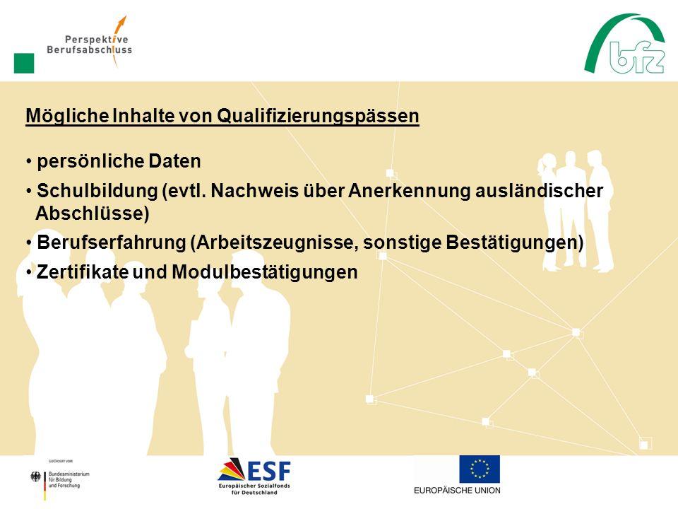 Mögliche Inhalte von Qualifizierungspässen persönliche Daten Schulbildung (evtl. Nachweis über Anerkennung ausländischer Abschlüsse) Berufserfahrung (