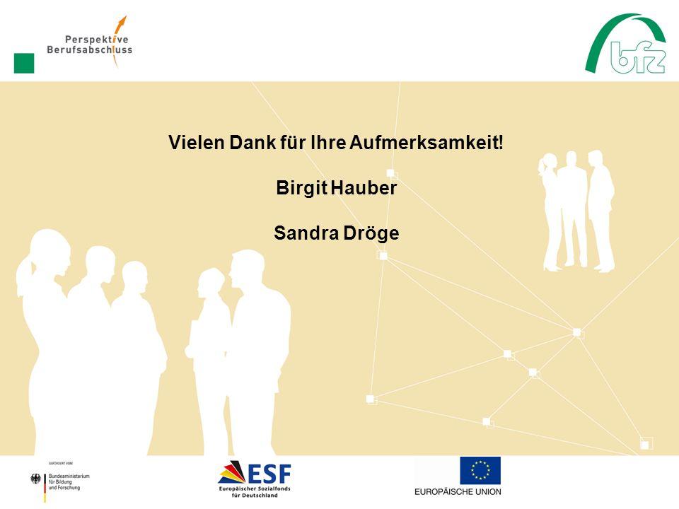 Vielen Dank für Ihre Aufmerksamkeit! Birgit Hauber Sandra Dröge
