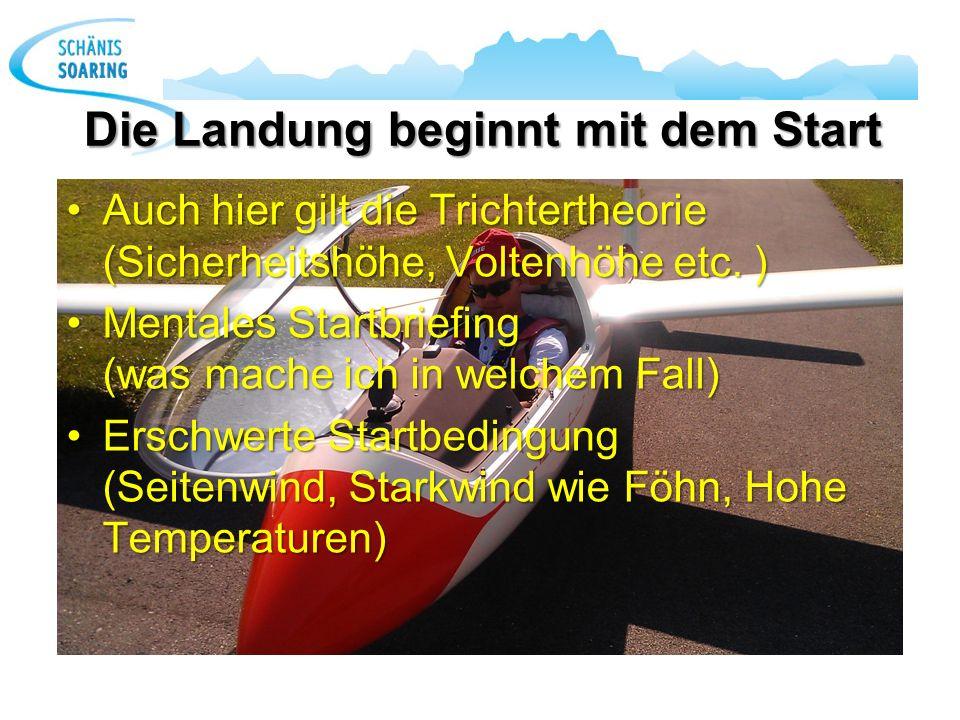 Die Landung beginnt mit dem Start Auch hier gilt die Trichtertheorie (Sicherheitshöhe, Voltenhöhe etc. )Auch hier gilt die Trichtertheorie (Sicherheit