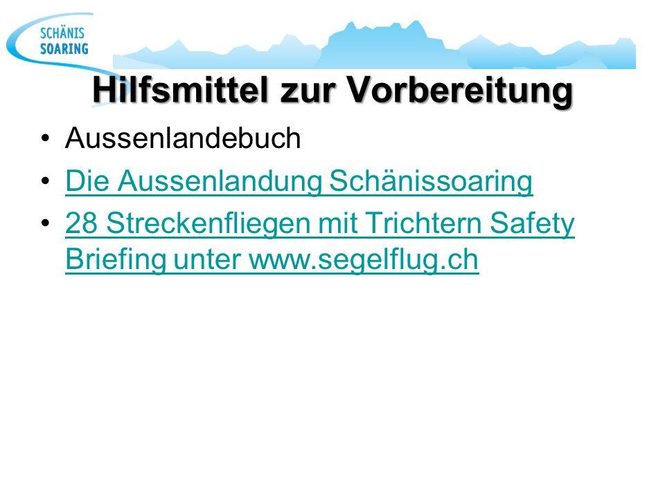 Hilfsmittel zur Vorbereitung Aussenlandebuch Die Aussenlandung Schänissoaring 28 Streckenfliegen mit Trichtern Safety Briefing unter www.segelflug.ch2