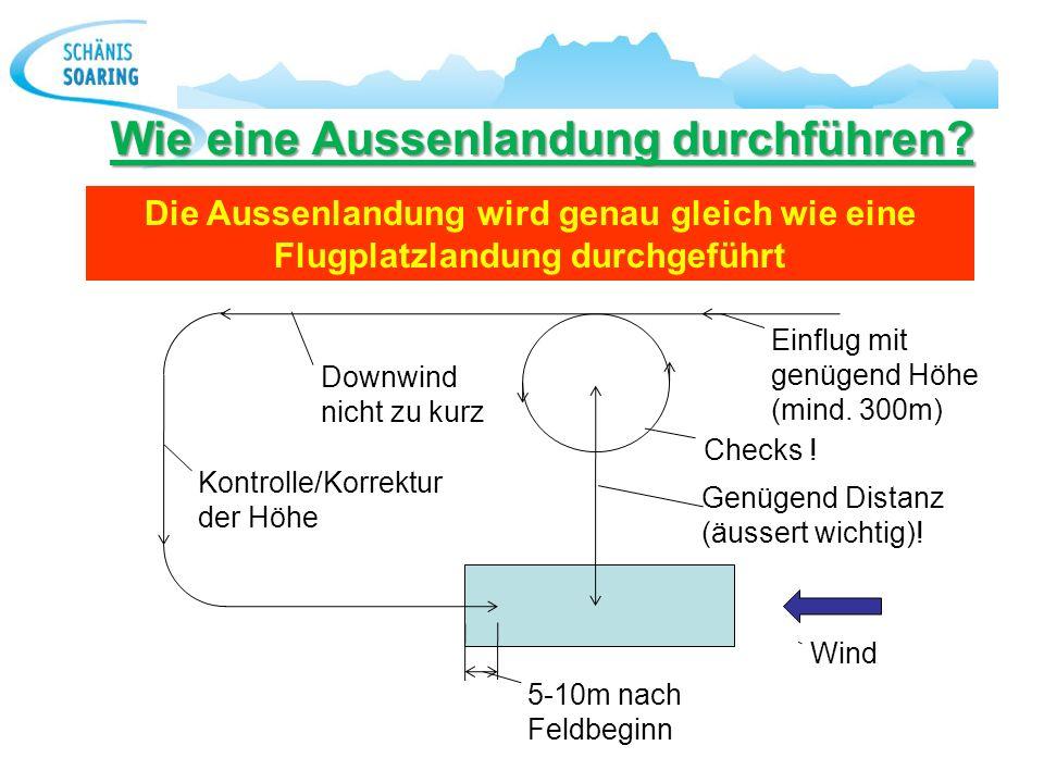 Wie eine Aussenlandung durchführen? Checks ! Einflug mit genügend Höhe (mind. 300m) Genügend Distanz (äussert wichtig)! 5-10m nach Feldbeginn Wind Dow