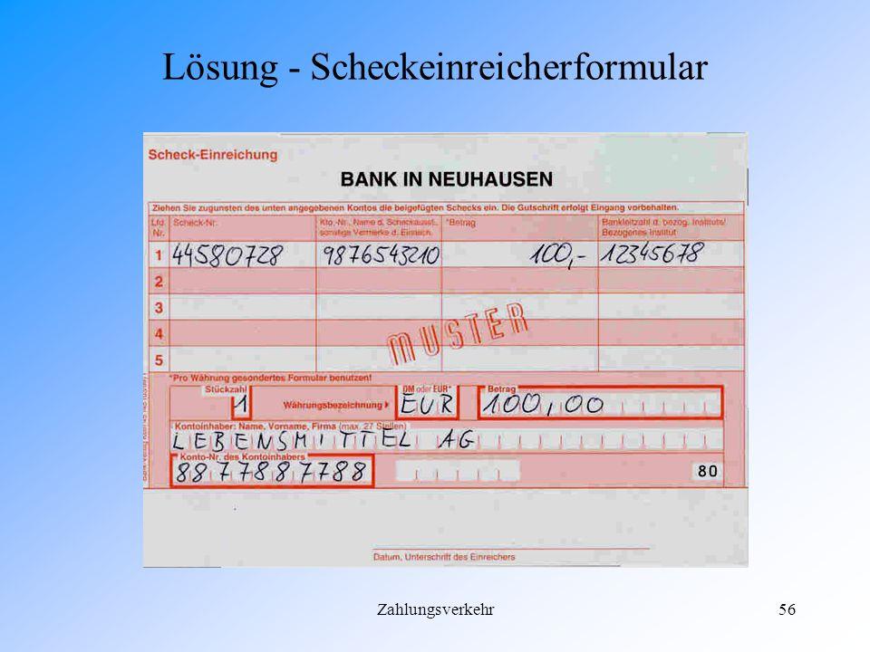 Zahlungsverkehr55 Lösung - EC-Scheck
