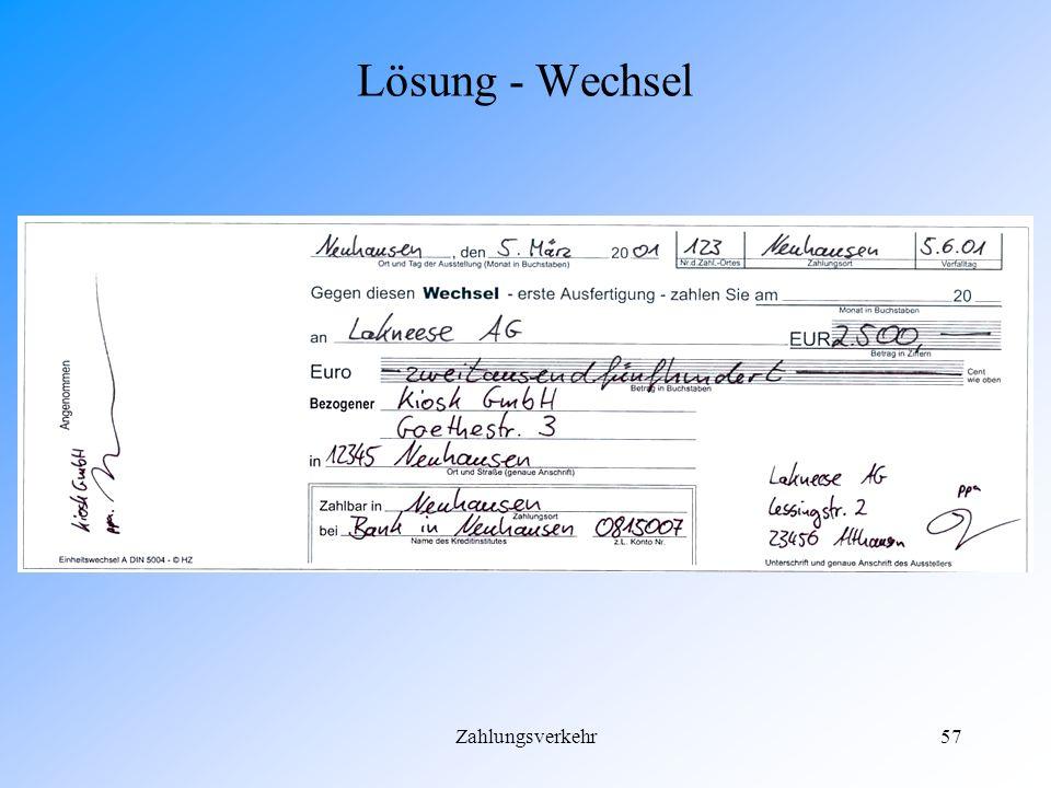Zahlungsverkehr56 Lösung - Scheckeinreicherformular