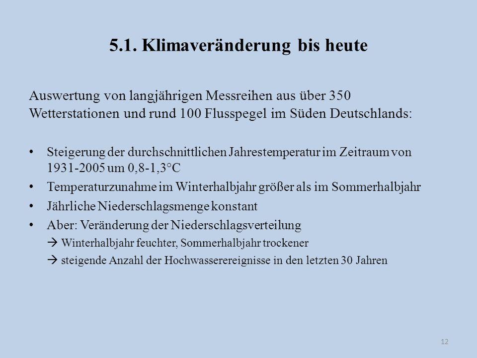 5.1. Klimaveränderung bis heute Auswertung von langjährigen Messreihen aus über 350 Wetterstationen und rund 100 Flusspegel im Süden Deutschlands: Ste