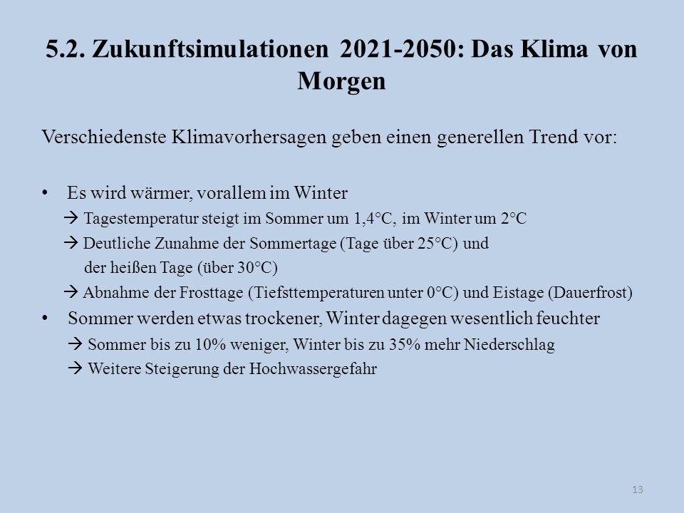 5.2. Zukunftsimulationen 2021-2050: Das Klima von Morgen Verschiedenste Klimavorhersagen geben einen generellen Trend vor: Es wird wärmer, vorallem im