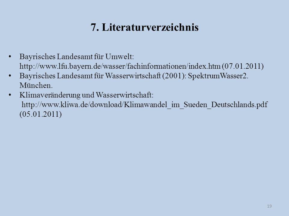 7. Literaturverzeichnis 19 Bayrisches Landesamt für Umwelt: http://www.lfu.bayern.de/wasser/fachinformationen/index.htm (07.01.2011) Bayrisches Landes