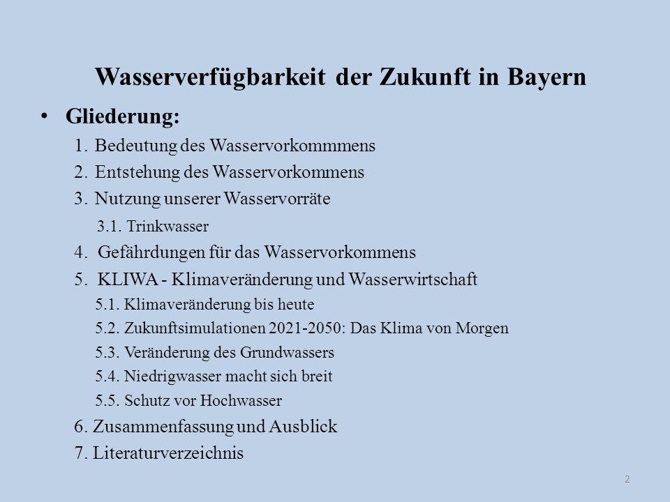 Wasserverfügbarkeit der Zukunft in Bayern Gliederung: 1.Bedeutung des Wasservorkommmens 2.Entstehung des Wasservorkommens 3.Nutzung unserer Wasservorr