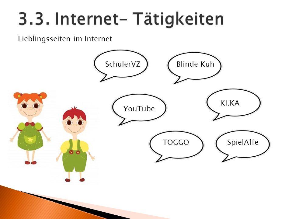 3.3. Internet- Tätigkeiten SchülerVZ YouTube TOGGO Blinde Kuh KI.KA SpielAffe Lieblingsseiten im Internet